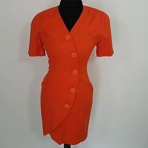 Vintage Nordstrom Orange Button Dress